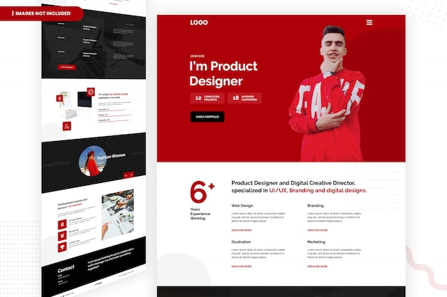 Concepteur de produit et page de site web créatif numérique