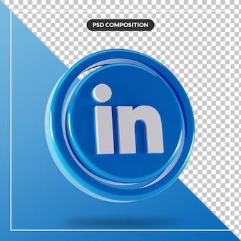 Conception 3d isolée du logo linkedin brillant