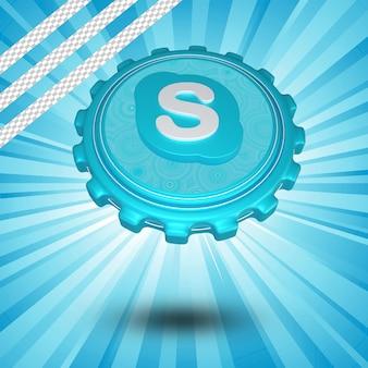 Conception 3d isolée du logo skype brillant