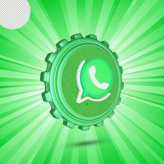 Conception 3d isolée de logo de whatsapp brillant