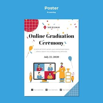 Conception d'affiche de concept d'apprentissage en ligne