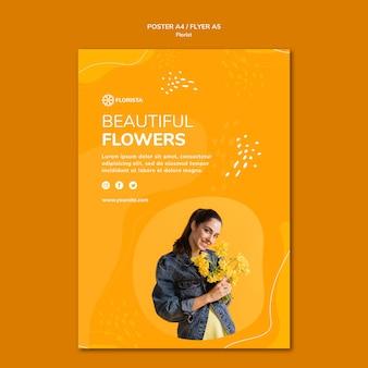 Conception d'affiche de concept de fleuriste