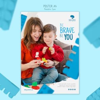 Conception d'affiche de concept de soins pédiatriques