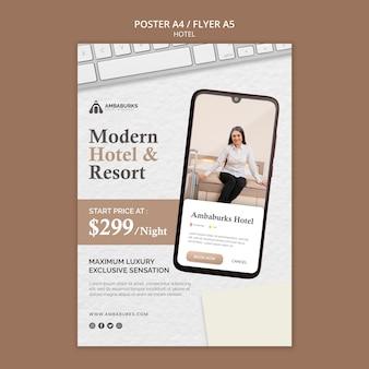 Conception d'affiche de conception de modèle d'hôtel