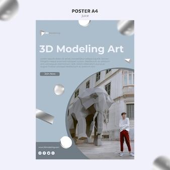 Conception d'affiche de cours de modélisation 3d