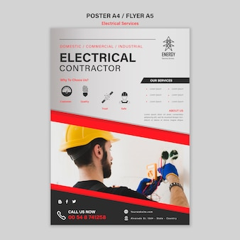 Conception d'affiche d'entrepreneur électrique