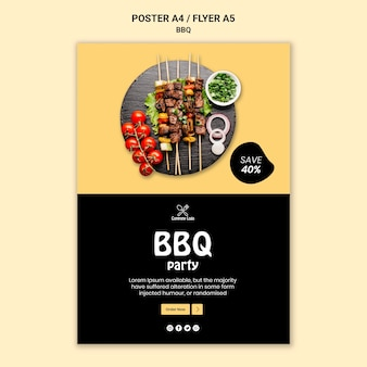 Conception d'affiche de fête barbecue