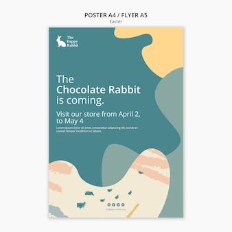 Conception d'affiche pour l'événement de lapin au chocolat