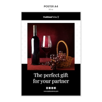 Conception d'affiche de vin traditionnelle
