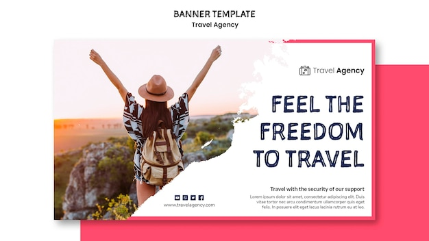 Conception de bannière d'agence de voyage