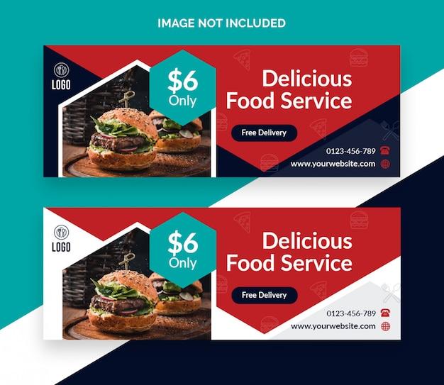 Conception de bannière de couverture facebook de restaurant alimentaire