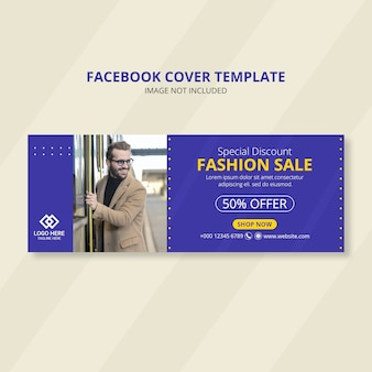 Conception de bannière de couverture facebook de vente de mode