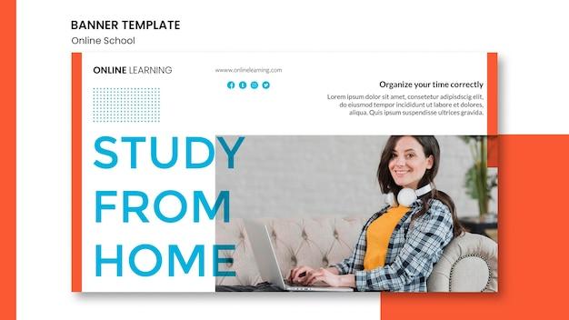 Conception de bannière horizontale d'école en ligne