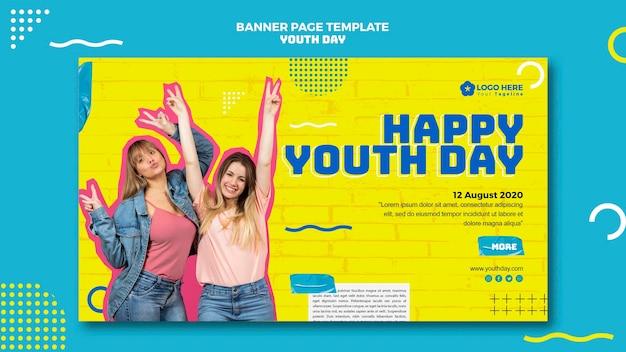 Conception de bannière horizontale pour la journée de la jeunesse