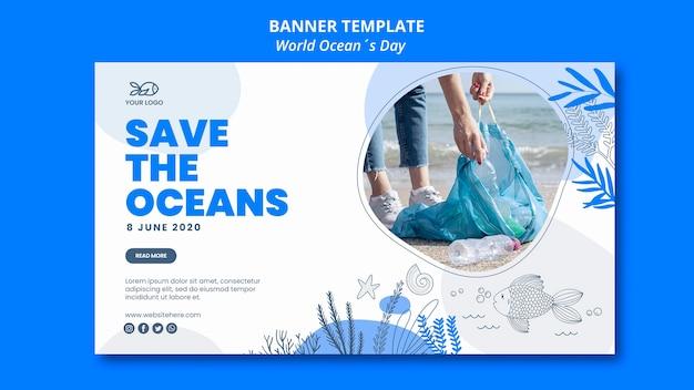 Conception de bannière de la journée mondiale de l'océan