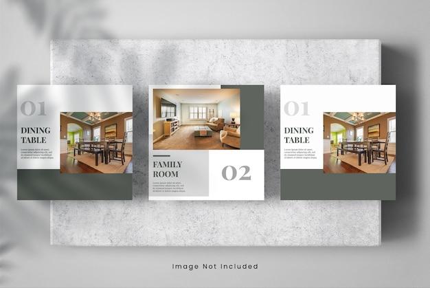 Conception de bannière de maquette de meubles de médias sociaux intérieurs