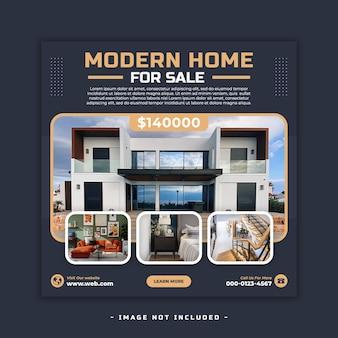 Conception de bannière de médias sociaux carré de propriété de maison immobilière psd
