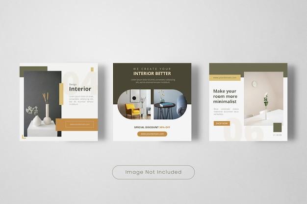 Conception de bannière de modèle de publication instagram d'intérieur
