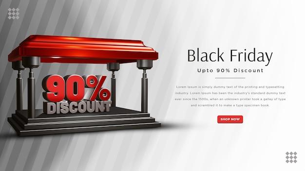 Conception de bannière de réduction de 90 pour cent du vendredi noir