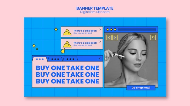 Conception de bannière de soins de la peau numérique
