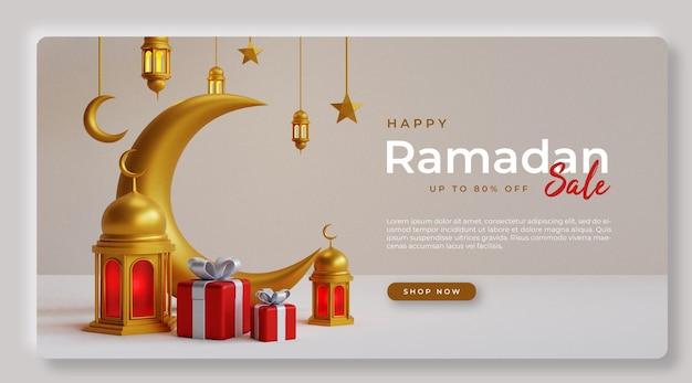 Conception de bannière de vente ramadan ps