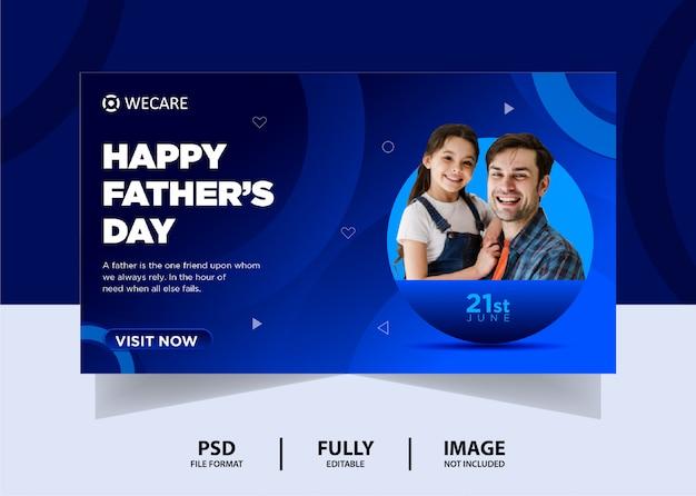 Conception de bannière web fête des pères de couleur bleue