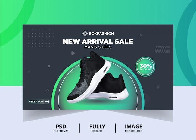 Conception de bannière web de produit de chaussures de sport de couleur gris foncé