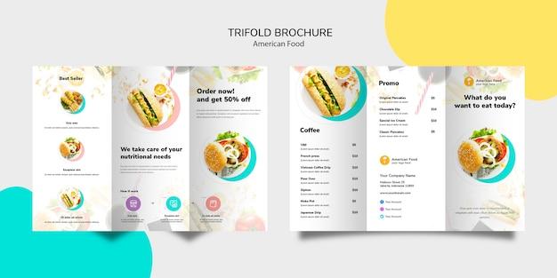 Conception de brochure à trois volets sur la cuisine américaine