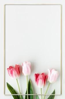 Conception de cadre de tulipe en fleurs dorées