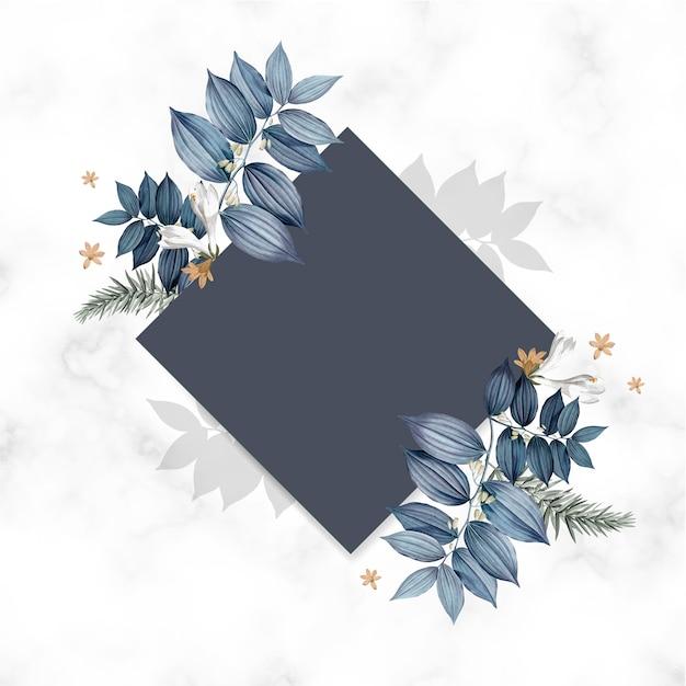 Conception de carte carrée blanc floral bleu