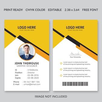Conception de la carte d'identité d'entreprise