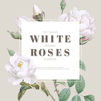 Conception de carte inspirante de roses blanches