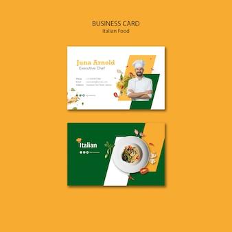Conception de carte de visite de cuisine italienne