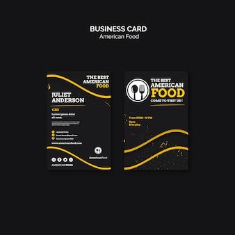 Conception de cartes de visite cuisine américaine