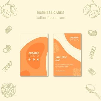 Conception de cartes de visite de restaurant italien