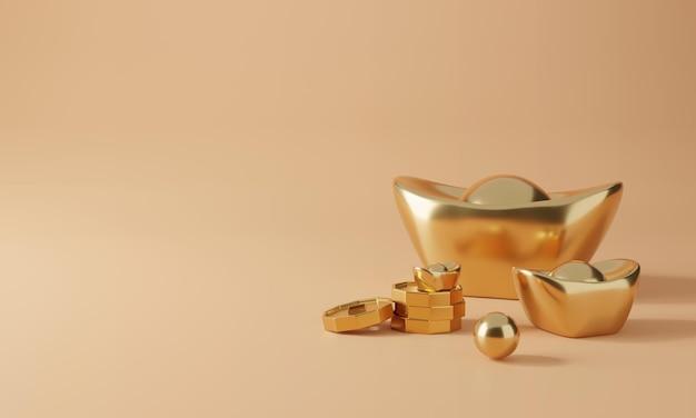 Conception chinoise 3d avec rendu d'or et de pièces de monnaie