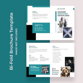 Conception de conception de modèle de brochure à deux volets pour agence commerciale d'entreprise