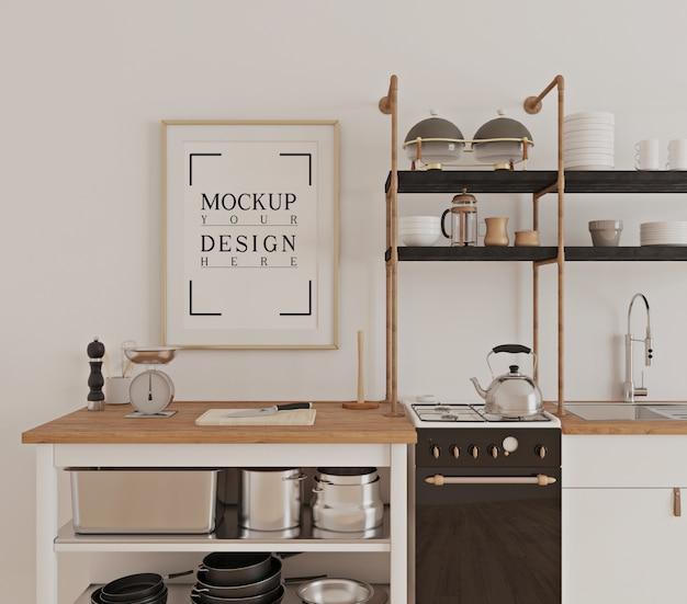 Conception de cuisine de luxe moderne avec cadre d'affiche de maquette