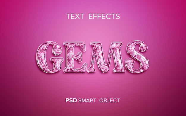 Conception d'effet de texte de pierres précieuses