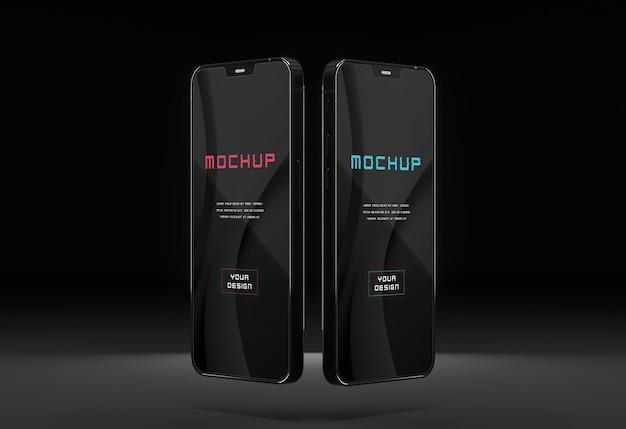 Conception élégante de maquette de smartphone sombre et brillant