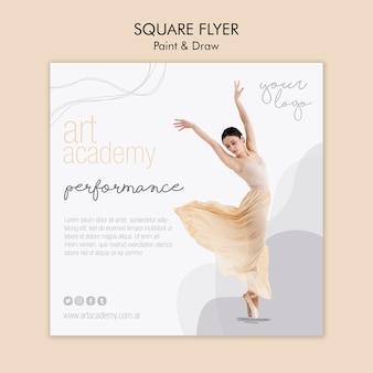 Conception de flyer carré académie d'art