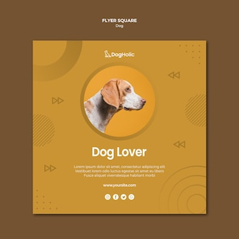 Conception de flyer carré amoureux des chiens