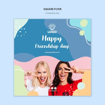 Conception de flyer carré jour de l'amitié