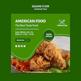 Conception de flyer carré de nourriture américaine