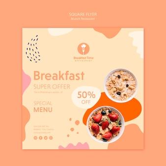 Conception de flyer carré pour menu spécial