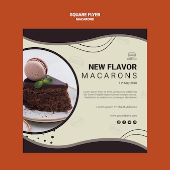 Conception de flyer carré savoureux macarons