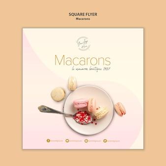 Conception de flyer carré vente macarons