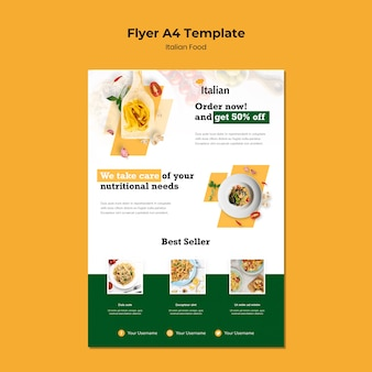Conception de flyer de cuisine italienne