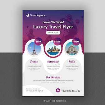 Conception de flyer d'entreprise et modèle de page de couverture de brochure pour agence de voyages