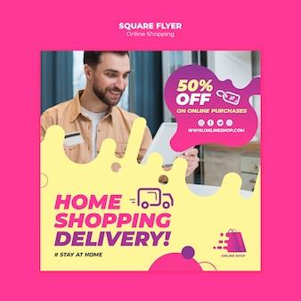Conception de flyer de magasinage en ligne